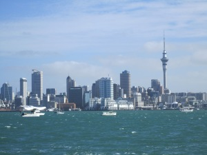 Auckland city skyline viewed from ferry