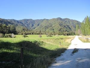 Surrounding mountains and farm land.