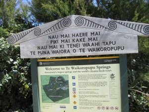 Waikoropupu Springs sign.