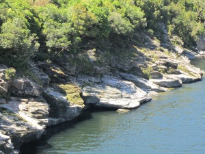 Grey river bank.
