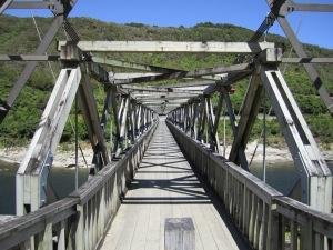 Suspension footbridge spans Grey river.