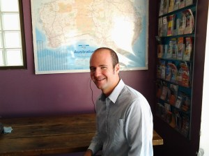 """Gareth at probably the """"prime"""" location for receiving WIFI reception in the entire %$@!& Chill Backpackers building."""
