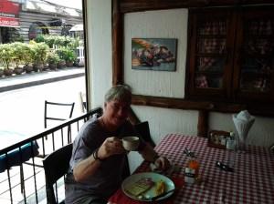 Paul eating breakfast.