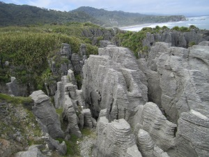 """Excellent example of the """"pancake"""" rocks."""