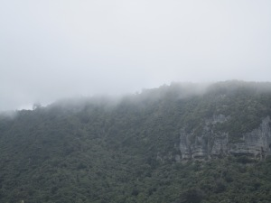 Fog rolling in over the mountains which rise above Punakaiki Pancake Rocks and Blowhole. At Coal Creek Falls, where I started my day, it was quite sunny out (due to being closer inland).