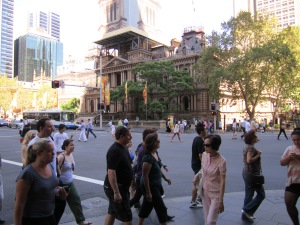 This is one of the weirdest intersections I have ever seen. Pedestrians are allowed to walk diagonally, as well as at all the cross walks, East, West, South and North. Located near the Queen Victoria Building.