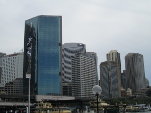 Sydney City skyline viewed from the Harbor Quy.