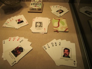 "Australia participated in the Iraq war and these playing cards show Saddam as the Ace of Spades, and his henchmen as lesser ""cards."""