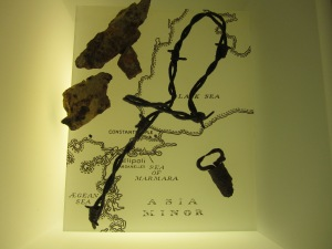 Shrapnel and barb wire from World War I.