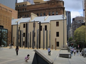 Sydney Museum. These totem poles were interesting, e.g., some contained sea shells in glass cutouts.