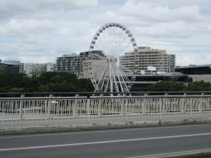 Ferris Wheel located on river bank, near the performing arts center (where Driving Miss Daisy is playing for 3 weeks).