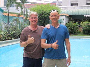 Two wild and crazy guys . . . Paul and I showing how much we love Bangkok.
