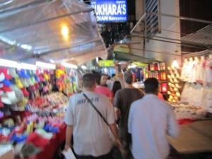 Nightlife in Bangkok. Paul is a few feet ahead of me.