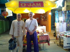 This is Stefan Becker and he is selling organic jam and preserves from this small kiosk. He is from Germany or Austria I believe and married a Thai woman (Nuania-o). Notice my shirt - I bought this in Chiang Mai a few days before.