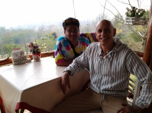 Mr. Jane and I at the Coffee In Love Restaurant, which overlooks the beautiful Pai valley.