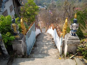 """Steep stairs I mentioned in the last photo. For whatever reason, I keep on thinking of Father Damien being thrown down the stairs by the Devil in the movie, """"The Exorcist."""""""