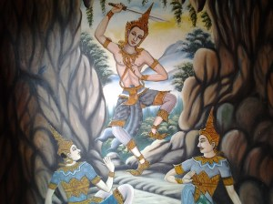 Strange drawings inside the Mae Yen Temple in Pai.