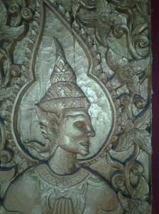 Door wood carving in Mae Yen Temple.