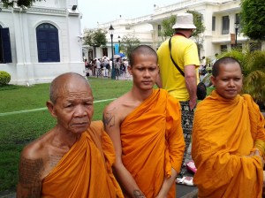 Buddhist monks at the Grand Palace were gracious and allowed me to photograph them. However, they wouldn't trade their clothing for mine.
