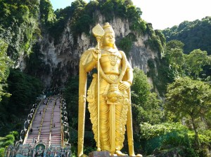 Lord Murugan Statue outside Batu Caves. This is easily the LARGEST statue I have ever seen. Unbelievable site to behold!