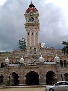 Clock tower located across the street from Independence Square and cricket field.
