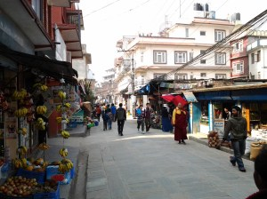 Relatively quiet Boudha neighborhood, where my hotel was located near.