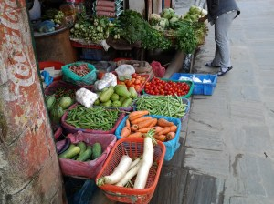 Produce being sold at open air market in Boudha