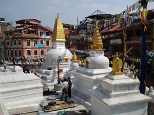 Part of the temple at Boudhanath.