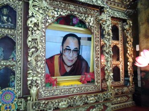 Photo of the Dalai Lama inside the monastery.