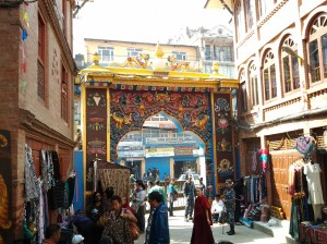 One of the many entrances into the mandala courtyard of the Boudhanath temple.