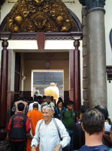Near the entrance to the holy shrine, which only Hindus can enter. You can see the Golden Bull through the gate.