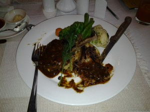 These are the lamb chops I had the other night. Cost? $12. I apologize for taking the picture after I had a couple of bites. Grin.