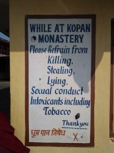 House rules at Kopan Monastery.