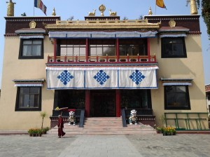 Entrance to main Buddhist temple at Kopan Monastery.