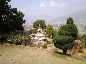 Viewed from outlook, the beautiful grounds  and city of Kathmandu in background.