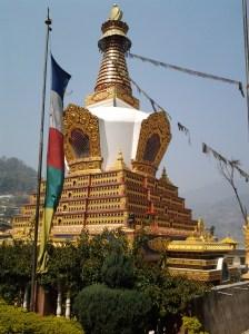 A large gold stupa.