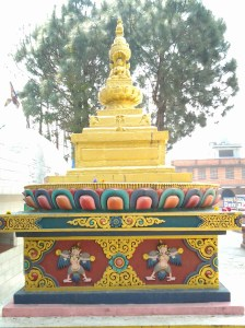 Gold stupa, one of many dotting this temple site.