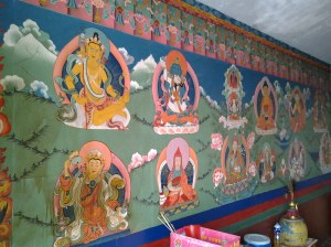 Colorful drawings inside the temple shrine.