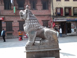 Side view of tiger statue.