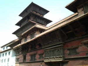 Basantapur Tower. Ursina and I would later climb this 9 story tower, as well as visit the adjacent buildings, which were a museum.