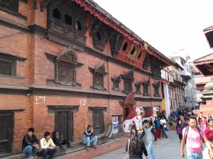 "Built in 1757 by King Jaya Prakash Malla, Kumari-ghar is the home of the ""Kumari"" or living goddess who is considered to be an incarnation of the goddess Taleju. The woodcarving on this building was wonderfully detailed."