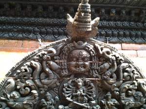 Intricate and detailed carvings which you find on the outside walls of  the Kumari-ghar building.