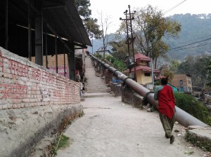 The beginning of the hike. For a large part of the trek, you are accompanied by this large water pipe which leads to the the dam and reservoir.  Also, notice the stairs. For most of the hike, you have concrete stairs or a flat path.