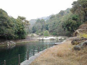 Water catchment pond behind the dam.