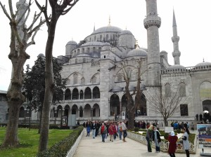 Near the entrance of the Blue Mosque.