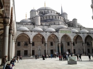 Outside in the Blue Mosque Courtyard.