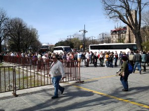 These people are not in line to see some hot new rock band, summer blockbuster movie, or hit Broadway play. All are here to see the Hagia Sophia and they are all in back of me. Grin. :-)