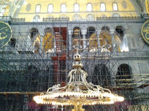 This is probably the largest chandelier I can recall ever seeing. In back of the chandelier is restoration work going on and it was barricaded from the public.