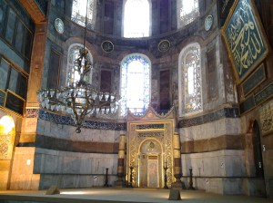 Under the rule of the Ottomans, the Hagia Sophia attained Islamic features such as the mihrab, minbar, and 4 minarets outside.