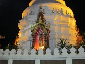 Thai Buddhist temple in Chiang Mai. I saw this in the evening and the gates were closed, so I don't know the name of it.